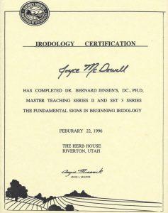 1996 02 22 Iridology Certification 1996 jpeg