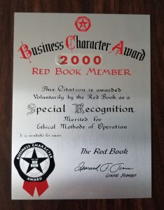 2000 Business Character Award plaque