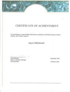2000 Business Workshop Certificate of Achievement jpeg