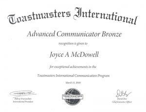 2018 3 15 Advanced Communicator Bronze