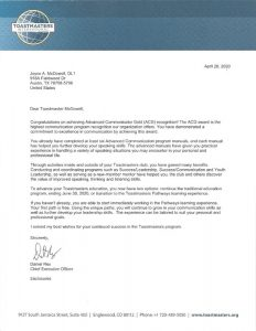 2020 4 26 Toastmasters letter