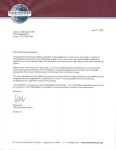 2020 6 11 Toastmasters letter